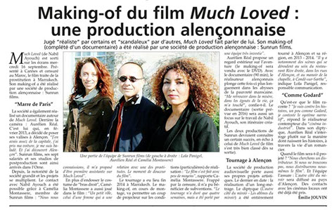 Much Loved de Nabil Ayouch SUNRUN Films producteur du making of du film avec Loubna Abidar. L'Orne Hebdo